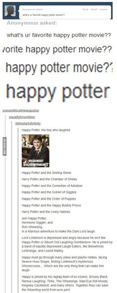 These happier Harry Potter titles. Harry Potter Jokes Even Muggles Will Appreciate Harry Potter Titles, Harry Potter Fandom, Harry Potter Tumblr Posts, Superwholock, Movies Wallpaper, Fangirl, Fandoms, Mischief Managed, My Tumblr