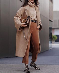 Women's fashion loose long sleeve lapel solid color long coat Only -. - Winter Outfits for Work Beige Outfit, Brown Outfit, Long Coat Outfit, Monochrome Outfit, Monochrome Fashion, Look Fashion, Fashion Models, Fashion Outfits, Womens Fashion