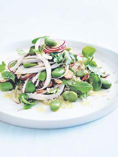 chicken, broad bean and quinoa salad