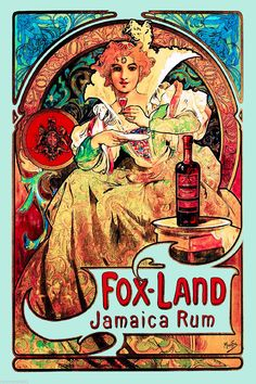 Fox Land Jamaica Rum French Nouveau Caribbean Travel Poster Advertisement | eBay