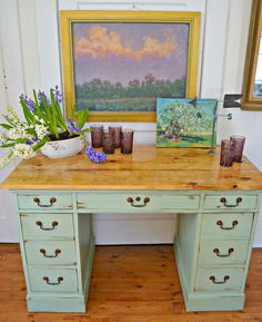 Heir and Space: An Antique Mahogany Desk in Verdigris Green