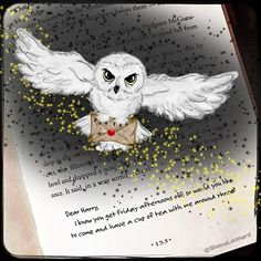 "ShenaLeonard (@shenaleonard) on Instagram: ""Today's Book Doodle: Owl Post for Harry... ⚡️ I finished my third digital drawing. Still using the…"" #Hogwarts #HarryPotter #Hedwig #OwlPost"
