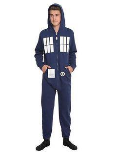 Doctor Who Mens Tardis Union Suit Pajamas Cosplay L/XL - New #UnderBossLLC #PajamaSets