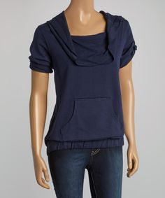 Look at this Navy Bow Drape Top on #zulily today!