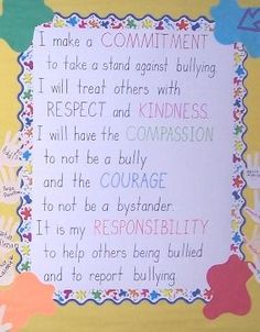 Anti bullying pledge example you could use in classroom, or home. #parenting #antibullying #bullyproof
