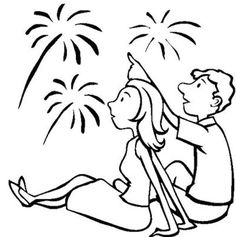 Beautiful Fireworks On Independence Day Coloring Page - Download & Print Online Coloring Pages for Free | Color Nimbus