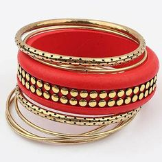 Vintage Multilayer Red Metallic Bracelets Bangles
