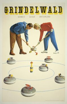 1960 Curling in Grindelwald, in the canton of Bern in Switzerland,vintage travel sport poster Vintage Ski Posters, Vintage Advertising Posters, Retro Poster, Vintage Advertisements, Vintage Ads, Vintage Sport, Print Poster, Fürstentum Liechtenstein, Tourism Poster