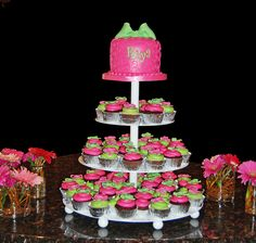 Pink raspberry and bright lime green scroll and bow cupcake tower for Baby Name Ceremony by Simply Sweets, via Flickr