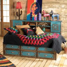 Las Cruces Bedroom Furniture - Love the color, the twig accents and who would have thought of using a quilt in southwest decor!