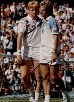 Enemies reunited! Becker and Edberg go head to head again as coaches to the stars: Boris Becker (left) and Edberg at Wimbledon
