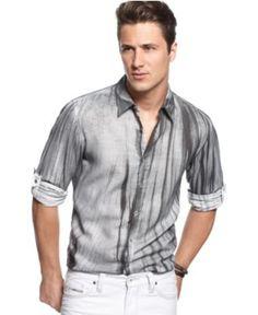 INC International Concepts Shirt, Long Sleeve Linen Merrit Graphic Shirt - Mens Casual Shirts - Macy's