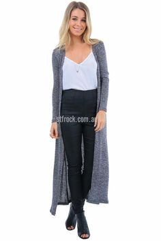 Bethany Maxi Cardi in Dark Grey $59.90 The Bethany Maxi Cardi is a full length maxi cardigan made with a stretchy, navy marl knit. This cardi comes with a slim fit, especially in the sleeves but the stretchy knit provides plenty of room for comfort. It's very easy to style, especially with casual outfits like a combination of the Lioness Renegade Split Skinny Jeans in Black.