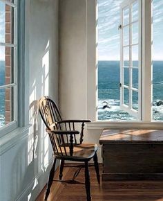 """Oak Chair by Edward Gordon - Detail of """"Corner Room"""" - Furniture and window in sunlight with seascape beyond"""