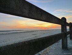 Baie de Somme, crotoy, Soleil fuyant derriere barriére