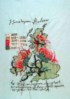 Penny Leaver Green Textile map of the Spread of Himalayan Balsam in the British Isles