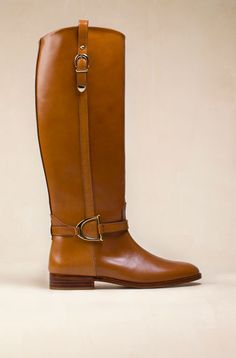 buckle leather riding boot