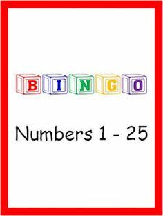 Classroom Freebies Too: FREE BINGO Game for Numbers 1-25!
