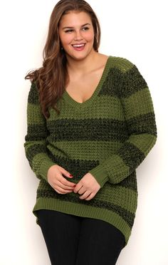 Deb Shops Plus Size Waffle Stitch Striped Tunic Top with High Low Hemline $21.00