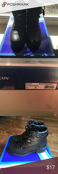 White mountain black boots White mountain black racket boots I. Good condition. Used a handful of times, wear shown in pics White Mountain Shoes Lace Up Boots