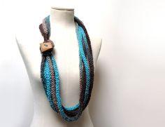 Knit Infinity Scarf Necklace Loop Scarlette Neckwarmer  by ixela, $33.00