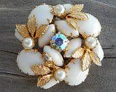 Vintage Milk Glass Faux Pearl Aurora Borealis Rhinestone Leaf Brooch