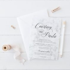 Wedding Invitation Suite, Modern Marble Grey and White Design, Professionally Printed, Peach Perfect Australia