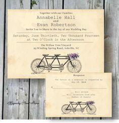 Tandem Bicycle Wedding Invitation, Custom Printable, Includes RSVP, Tandem Bike Rustic Wedding, Vintage Bicycle Invitation, Wedding Suite