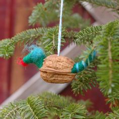 Hatching Baby Dragon Ornament in Blue Green by BossysFeltworks