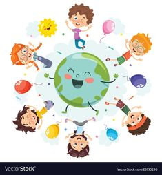 Space children vector image on VectorStock Kids Vector, Free Vector Images, Vector Free, Earth Day Pictures, English Classroom, Child Day, Children Images, Diy For Kids, Royalty