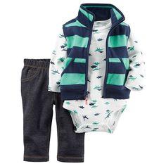 Baby Boy Carter's Striped Fleece Vest, Cardigan & Jeggings Set