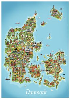 Billedresultat for danmark Denmark Map, Visit Denmark, Denmark Travel, Scandinavian Countries, Travel Images, Vintage Travel Posters, Norway, Uganda, Pictures