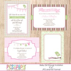 Baby Girl Shower Invitation - sweet printable baby invites in pink, green and brown. Baby Shower Invites For Girl, Girl Shower, Baby Shower Invitations, Party Invitations, Shower Time, Cute Backgrounds, Baby Shower Printables, Baby Kids, Baby Baby