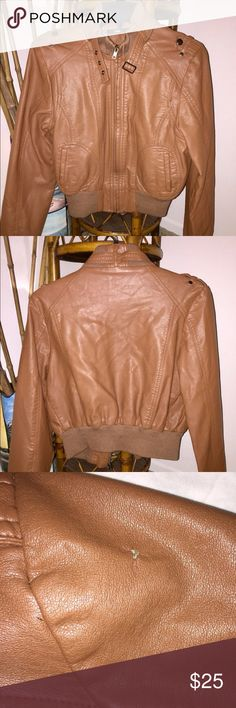 "ᴘᴀᴘᴀʏᴀ | Faux Leather Motorcycle Jacket Size L/P Faux Leather Moto Style Jacket in a pretty cognac brown. Lined, warm and in VERY GOOD condition EXCEPT for a small nick on the left shoulder (see pic). Price reflected! I wish this fit me! It fits more like a medium. The sleeves are what make them a large. They measure 25"" long! My prices change often for sales & specials, so buy your favorite items when prices are low! Thank you for shopping my closet. Mahalo!🤙🏼♥️ Papaya Jackets & Coats"