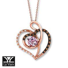 Le Vian Amethyst Necklace 1/6 ct tw Diamonds 14K Rose Gold  Love this color gold.