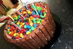 Smarties & kit cat birthday cake