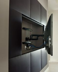 For media room  - TV mounts allow for movement, and recessing into the wall.
