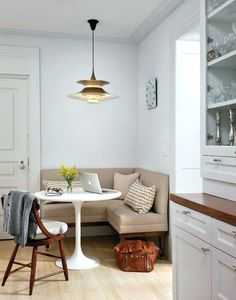 Kitchen Banquette Seating Corner Transitional With Round Table Inside Prepare Sea Corner Banquette, Banquette Seating In Kitchen, Kitchen Table Chairs, Dining Room Table Decor, Outdoor Dining Furniture, Dining Room Design, Room Decor, Corner Bench, Small Dining Table Apartment