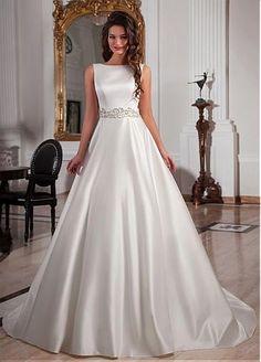 Gorgeous Satin Bateau Neckline A-line Wedding Dresses with Bowknot