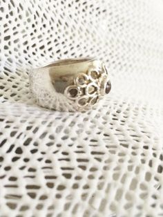 Vintage Silver Thick Band with Scroll Detail Ring by PopsCandy, $12.00