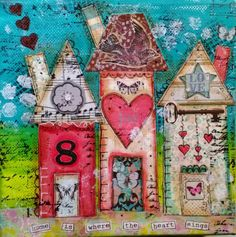 Houses - Mixed Media Collage Canvas