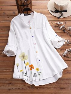 Cotton Linen Flower Print Irregular Hem Long Sleeve Colorful Button Shirts - White for daily casual wear Mode Outfits, Fashion Outfits, Fashion Styles, Chic Outfits, Mode Abaya, Casual T Shirts, Women's Casual, Dress Casual, Party Fashion