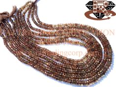 Andalusite Faceted Roundel (Quality AAA) Shape: Roundel Faceted Length: 36 cm Weight Approx: 10 to 12 Grms. Size Approx: 3.5 to 4.5 mm Price $43.92 Each Strand