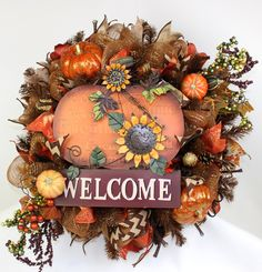 Happy Fall , Fall Blessings, Welcome Fall Deco Mesh Wreath by Crazyboutdeco on Etsy