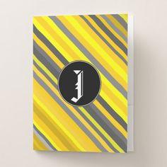 #stripes - #Custom Initial  Yellow & Gray Stripes Pattern Pocket Folder