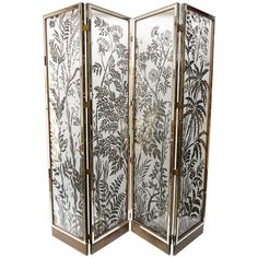 Incredible French four paneled glass screen with silver overlay floral motif and mirrored edging. From Elizabeth Arden Estate. Metal Screen, Glass Screen, Glass Art Pictures, Decorative Screens, Room Screen, Crushed Glass, Stained Glass Art, Mosaic Art, Art Decor