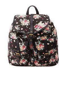 Floral Print Canvas Backpack: Charlotte Russe
