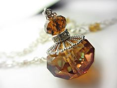 LARGE Swarovski Amber Crystal Drop Pendant Necklace by NataliaKh, $25.77
