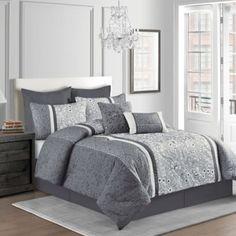 Sanibel 8-Piece Comforter Set in Grey - BedBathandBeyond.com