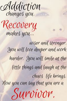 addiction and recovery quote, be a survivor NOT a quitter.  You Can and WILL recover!  I love this saying. It's so true.